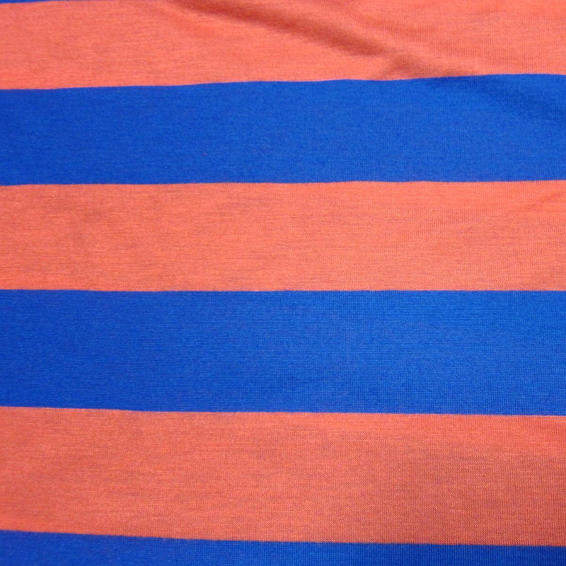 "Red and Blue 2"" Stripes on Cotton/Poly Jersey"