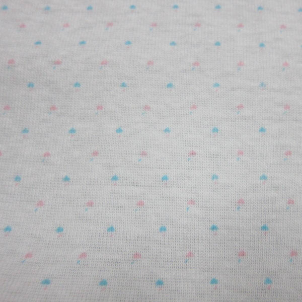 Bright Micro Dots on White Cotton Rib