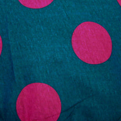 Large Purple Dots on Blue Cotton Jersey