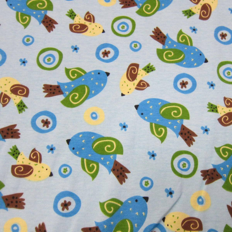 Bluebirds on Blue Cotton Rib
