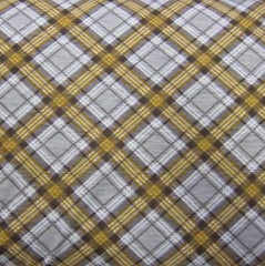 Gold and Gray Plaid on Cotton Jersey