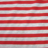 Red and Natural Stripe Bamboo/Spandex Jersey