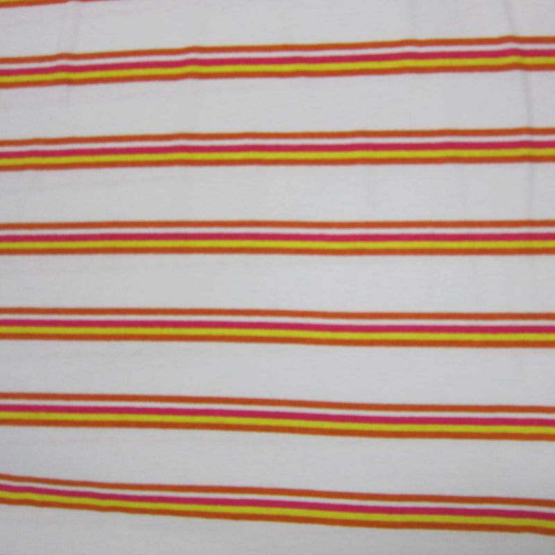 Orange Pink and Yellow Stripe on White Cotton Jersey