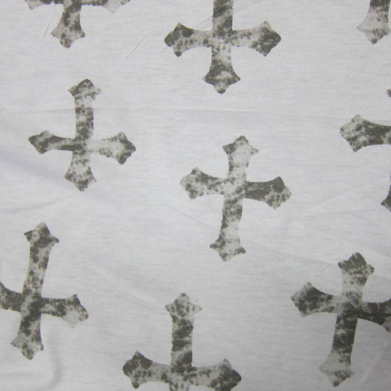 Distressed Gray Crosses on White Cotton Jersey