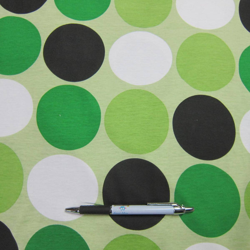 Green Dots on Green Cotton Jersey