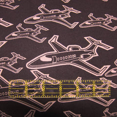 Airplanes on Brown Cotton Fleece