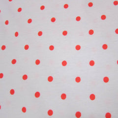 Hot Dots on White Cotton Rib