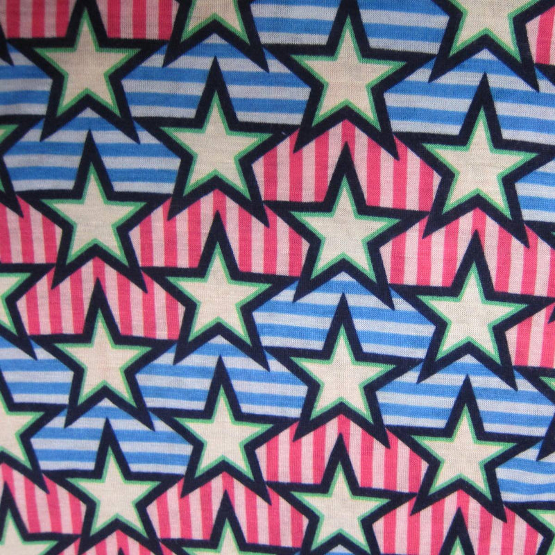 White Stars on Mis Striped Cotton/Spandex Jersey