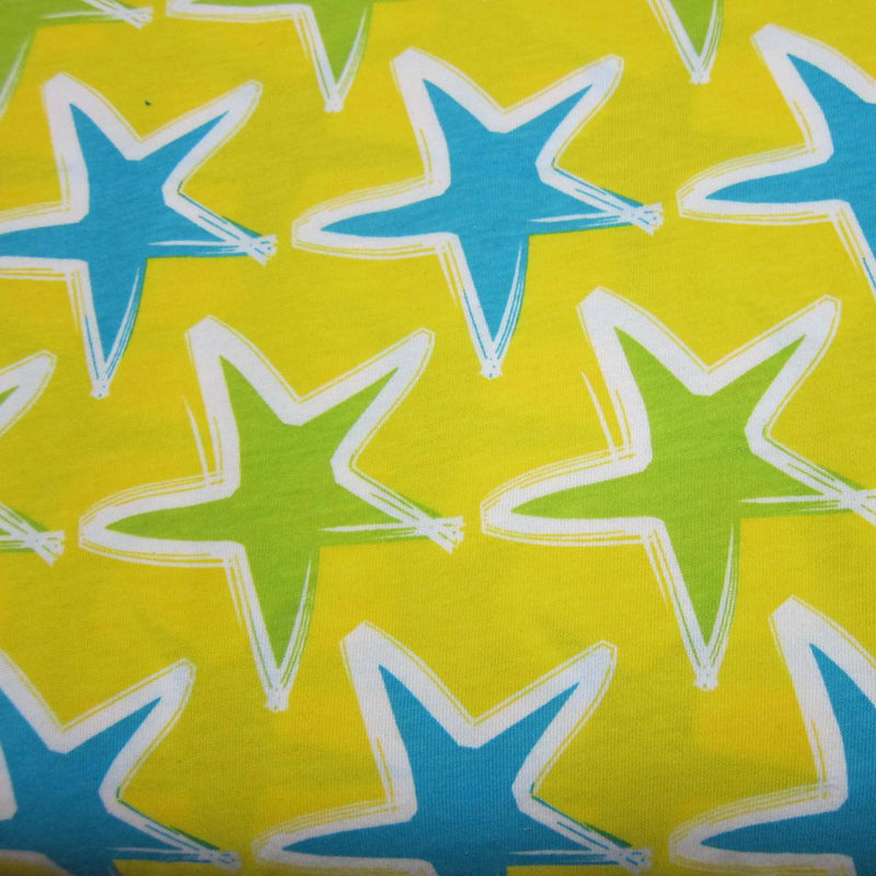 Summer Stars on Yellow Cotton Jersey