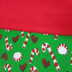 Candy Canes on Green Cotton Rib