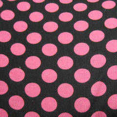 Pink Dots on Black Cotton/Poly Jersey