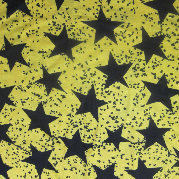 Black Stars on Yellow Cotton/Poly Jersey