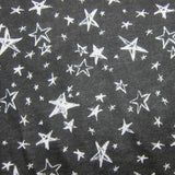 White Stars on Black Cotton Jersey