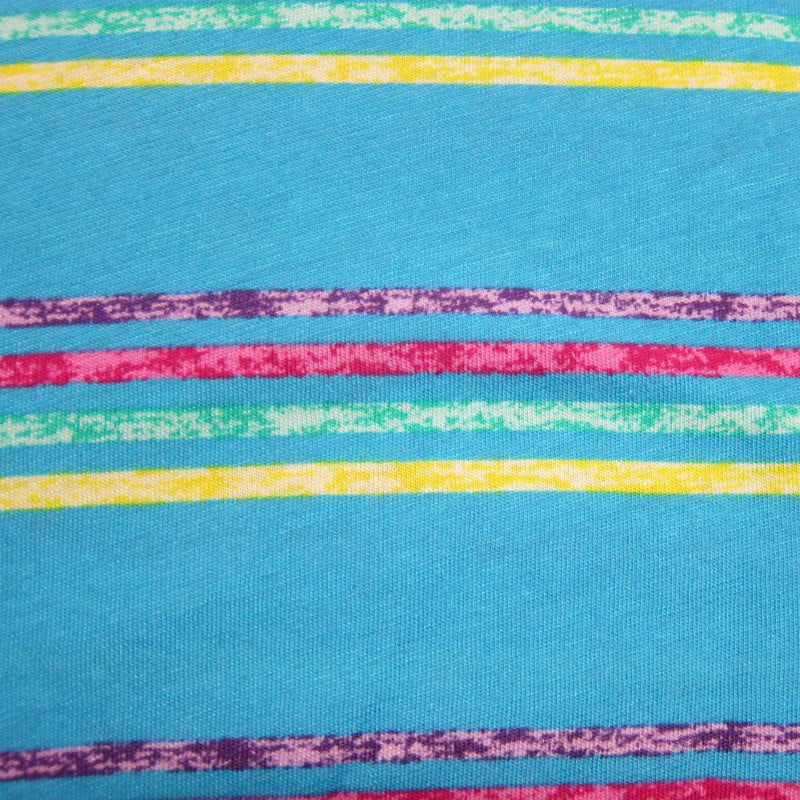 Hot Blue Summer Stripe on Cotton/Poly Jersey