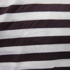 Dark Plum and White Stripe Cotton/Poly Jersey