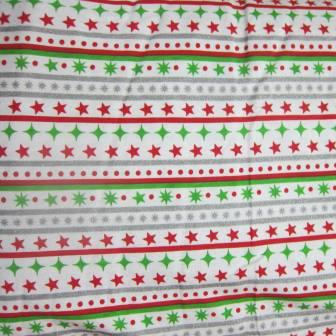 Holiday Stripe on White Cotton Jersey