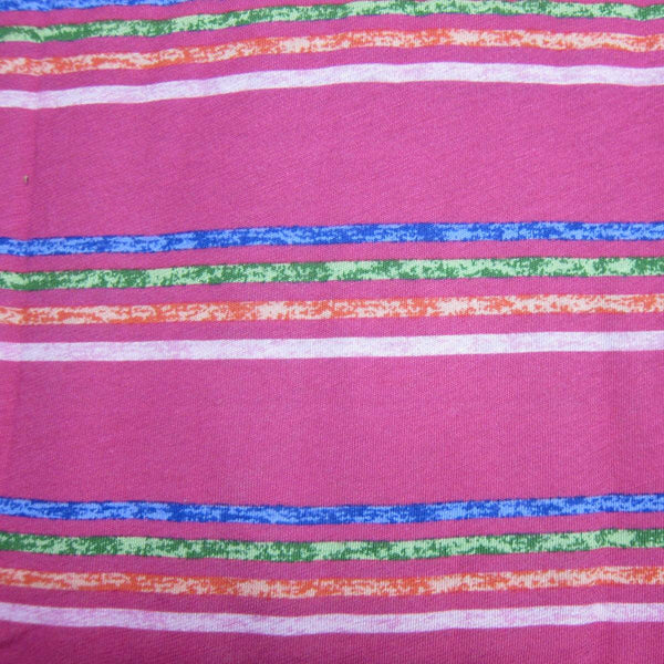 Hot Pink Summer Stripe on Cotton/Poly Jersey