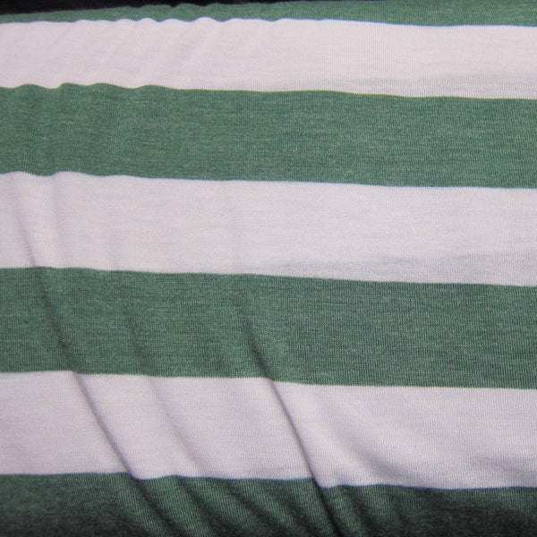 Hunter Green and White Stripe on White Cotton/Poly Jersey