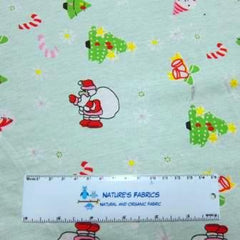 Santa on Mint Cotton Jersey