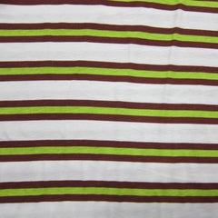 Green and Brown Stripe on White Cotton Jersey