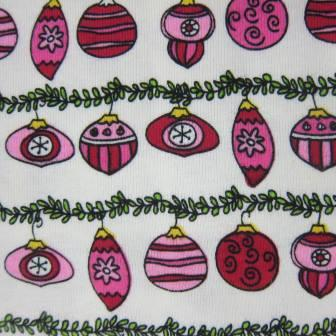 Pink Ornaments on Natural Cotton Rib