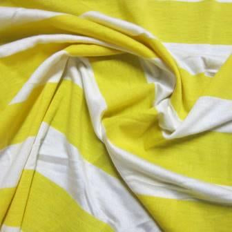 "Yellow and White 3/4"" Stripes on Cotton/Spandex Jersey"