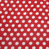 Dime Size White Dots on Red Cotton/Spandex Jersey