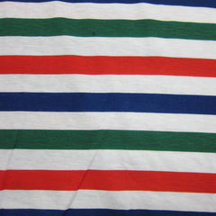 Red, Green and Navy Stripe on White Cotton Jersey