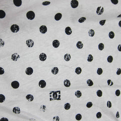 Distressed Black Dots on White Cotton/Poly Jersey
