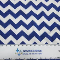 Royal Chevron on White Cotton/Spandex Jersey