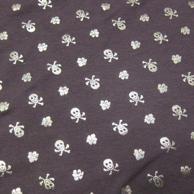 Gold Skulls on Brown Cotton/Spandex Jersey