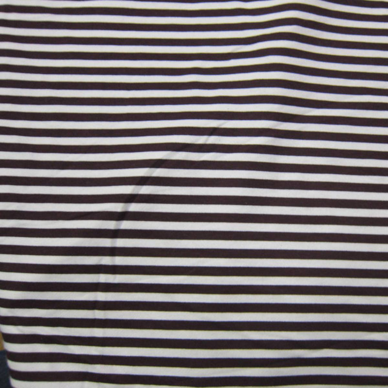 "Brown and White 1/4"" Stripe on Cotton Fleece"