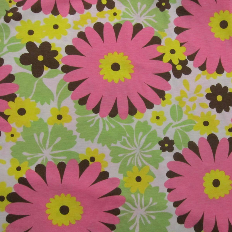 Pink Dahlias on White Cotton Jersey