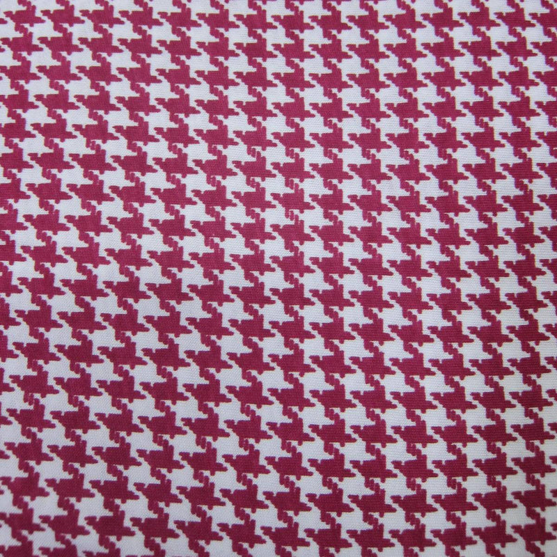 Dark Pink and White Houndstooth on Cotton/Poly Jersey