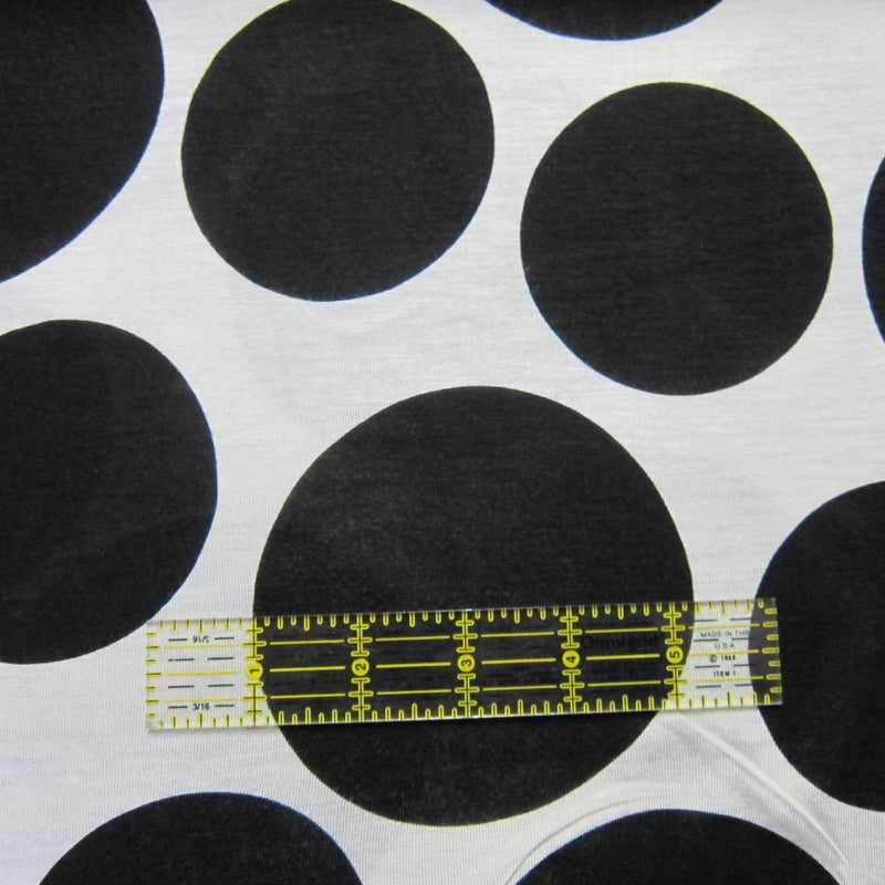 Large Black Multi Size Dots on White Cotton/Poly Jersey