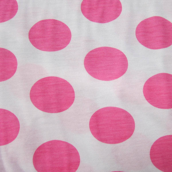 "Pink 2"" Dots on White Cotton Jersey"