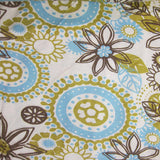 Gold and Aqua Flowers on Natural Cotton Jersey