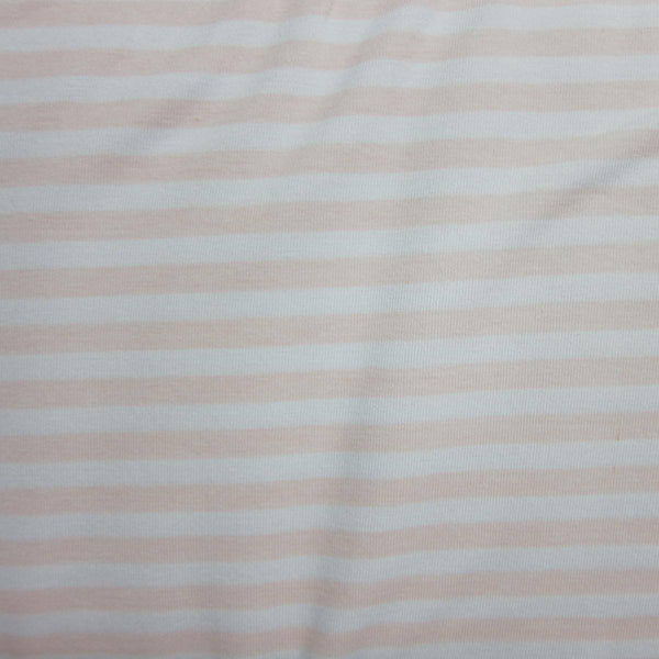 "Peach and White 1/4"" Stripe on Cotton/Spandex Jersey"