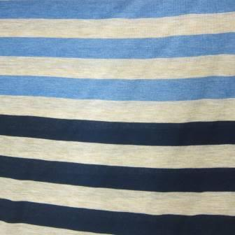 Tan and Navy Stripe Cotton Jersey