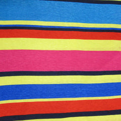 Vari Stripe of Pink, Yellow, Red and Blue Cotton/Poly Jersey