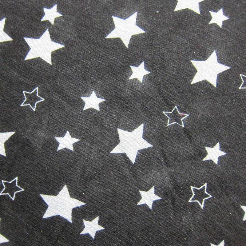 White Stars on Black Cotton/Poly Jersey