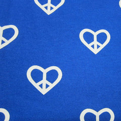 Heart Peace on Blue Cotton Fleece
