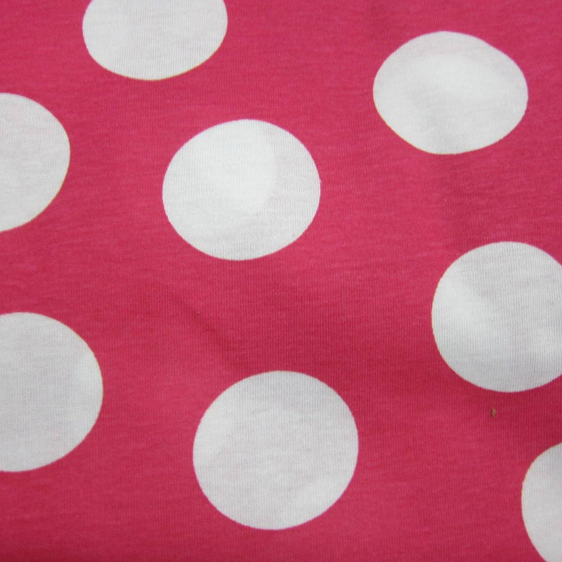 "White 1 3/4"" Dots on Hot Pink Cotton Jersey"