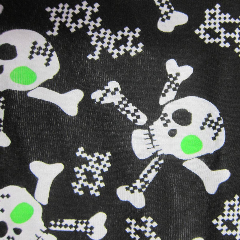 Skulls with Green Accents on Black Cotton Rib Knit