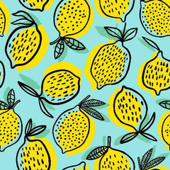 Lemons on Blue 1 mil PUL - Made in the USA- seconds - Nature's Fabrics