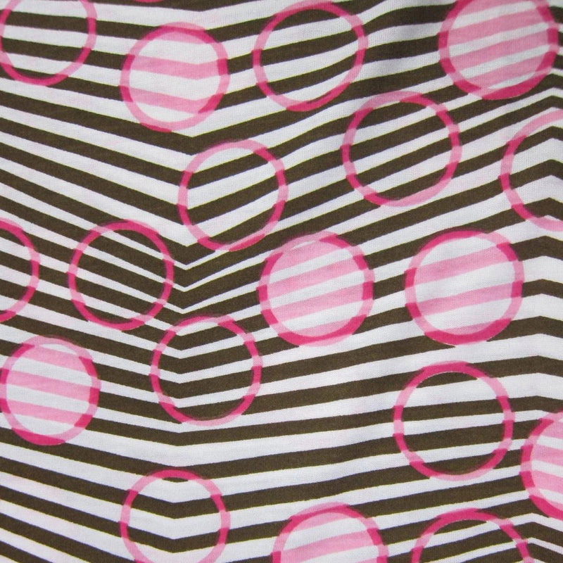Pink Circles on Brown Chevron Cotton Jersey