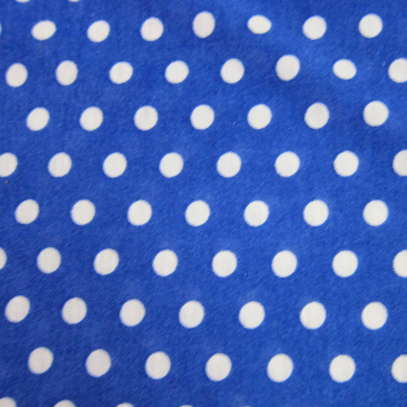 White Dots on Royal Cotton/Poly Jersey