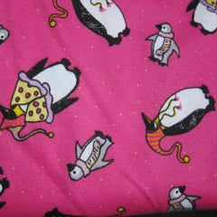 Penguins on Pink Cotton Interlock