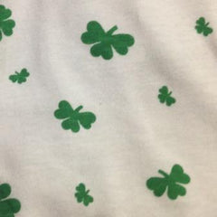 Shamrocks on White Cotton Rib