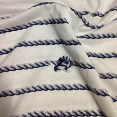 Knots on White Cotton Jersey